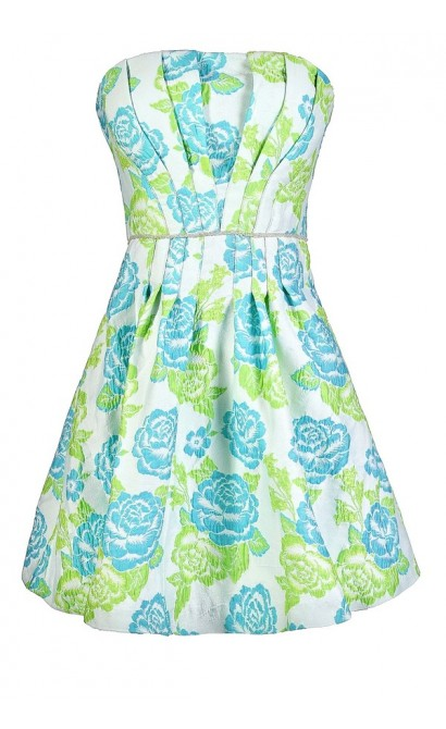 Teal Floral Dress, Cute Floral Dress, Minuet Teal Floral Dress, Minuet Dress, Floral A-Line Dress, Teal and Lime Green Floral Dress, Green Flower Dress, Cute Floral Sundress