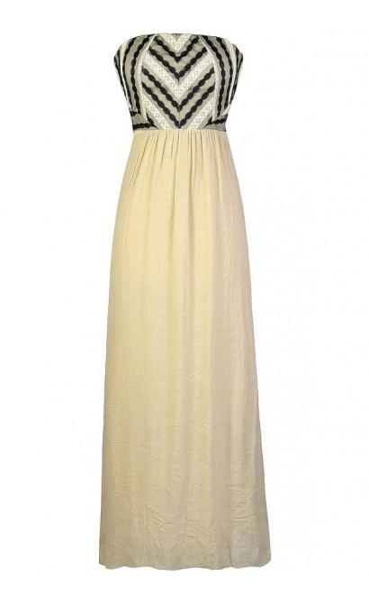 Beige Maxi Dress, Cute Beige Dress, Cute Maxi Dress, Beige and Black Maxi Dress, Summer Maxi Dress, Beige Crochet Lace Maxi Dress