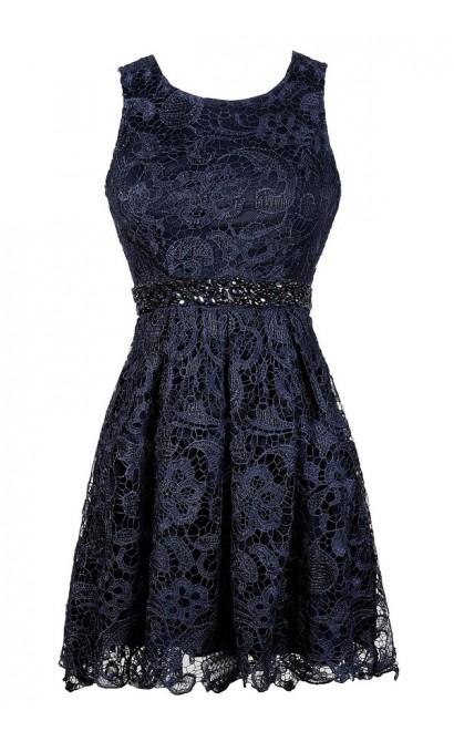 Navy Lace Dress, Cute Navy Dress, Navy Embellished Dress, Navy Lace A-Line Dress, Navy Lace Party Dress
