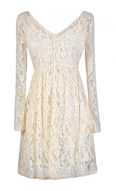 Ivory Lace Dress, Beige Lace Dress, Longsleeve Lace Dress, Beige Lace Rehearsal Dinner Dress, Ivory Lace Rehearsal Dinner Dress, Cute Lace Dress