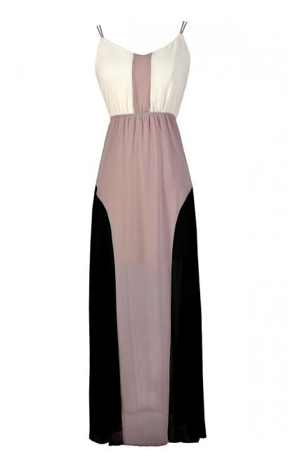 Colorblock Maxi Dress, Cute Colorblock Dress, Black and Taupe Colorblock Black Dress, Black Ivory and Taupe Maxi Dress, Black and Beige Colorblock Maxi Dress