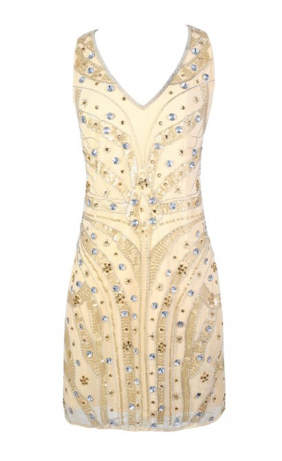 Roaring 20s Dress, Great Gatsby Dress, Embellished Party Dress, Beige Sequin and Rhinestone Dress, Beaded Great Gatsby Dress, Beaded Party Dress
