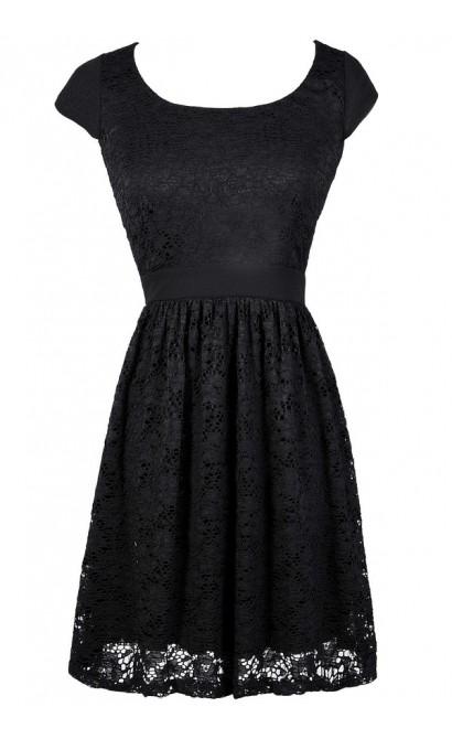 Black Lace Dress, Black Lace Capsleeve Dress, Black Lace A-Line Dress, Little Black Dress, Black Lace Party Dress