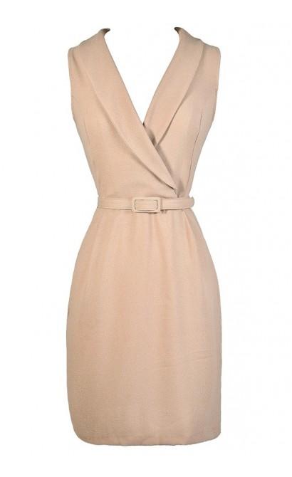 Safari Style Dress, Cute Beige Dress, Taupe Business Casual Dress, Beige Belted Dress, Taupe Belted Dress, Cute Work Dress