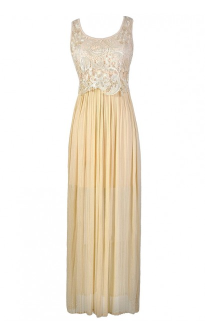 Gold Maxi Dress, Gold Crochet Lace Dress, Gold Shimmer Dress, Gold Prom Dress, Beautiful Gold Dress, Gold Bohemian Dress