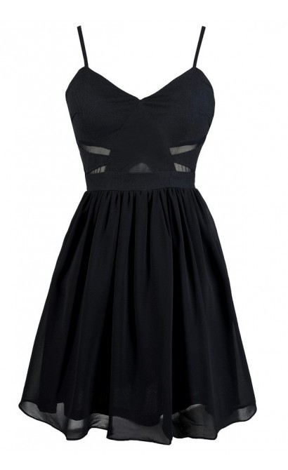Cute Navy Dress, Navy Party Dress, Navy A-Line Dress, Navy Chiffon Dress, Cute Navy Dress