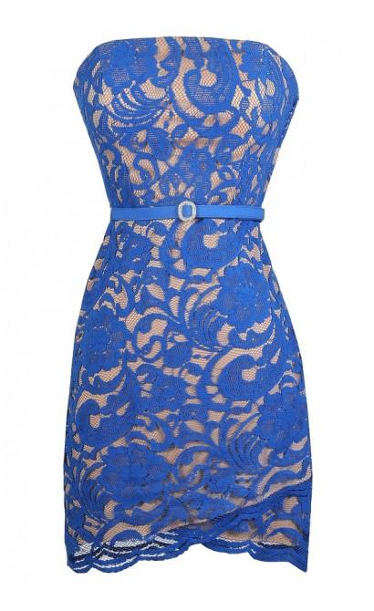Blue Lace Dress, Cute Blue Dress, Crossover Hem Dress, Blue Strapless Lace Dress, Blue Lace Cocktail Dress, Blue Lace Party Dress