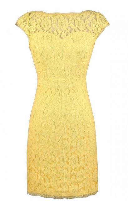 Yellow Lace Dress, Bright Yellow Dress, Fitted Yellow Lace Dress, Yellow Lace Pencil Dress, Yellow Lace Party Dress, Cute Yellow Lace Dress