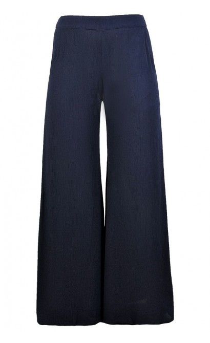 Cute Navy Pants, Navy Palazzo Pants, Navy Wide Leg Pants, Flowy Navy Pants