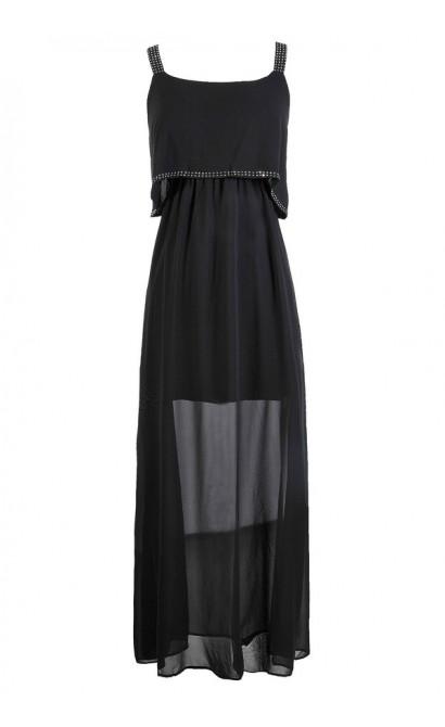 Black Maxi Dress, Flutter Top Dress, Flutter Top Maxi Dress, Bohemian Maxi Dress, Boho Glam Maxi Dress