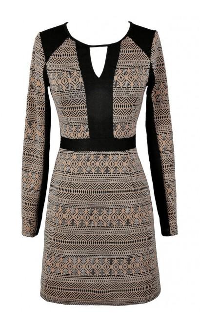 Black and Brown Dress, Black and Mocha Dress, Longsleeve Dress, Cute Fall Dress, Cute Winter Dress, Cute Sweater Dress