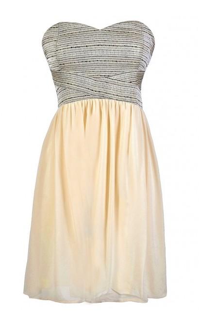 Shine So Bright Textured Strapless Chiffon Dress in Cream