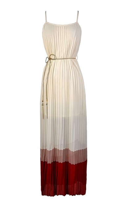 Pleated Chiffon Colorblock Hem Maxi Dress in Ivory/Red