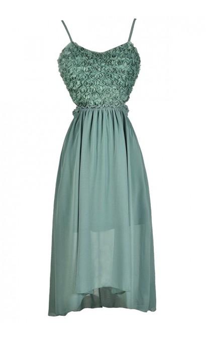Sage Rosette Dress, Sage Open Back Dress, Sage High Low Dress, Sage Green Dress, Sage Green Party Dress, Sage Green Cocktail Dress, Green High Low Dress, Rosette Open Back Dress