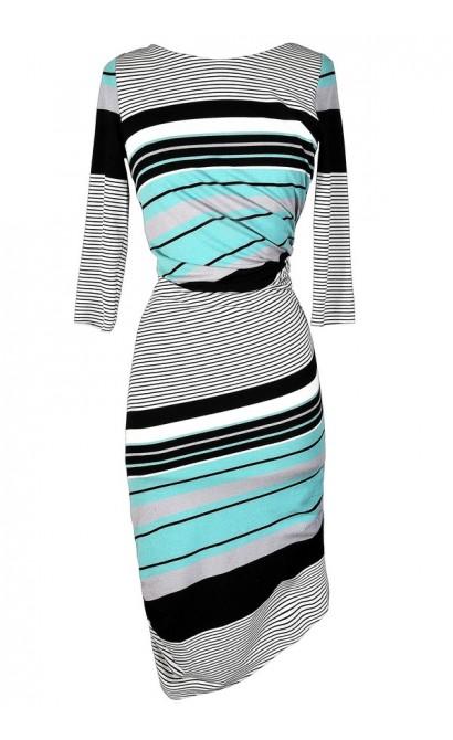 Cute Stripe Dress, Mint Stripe Dress, Aqua Stripe Dress, Teal Stripe Dress, Stripe Bodycon Dress, Fitted Stripe Dress, Stripe Midi Dress