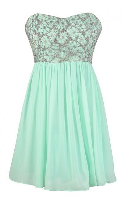 Cute Prom Dress, Mint Sequin Prom Dress, Mint and Silver Sequin Dress, Mint Party Dress, Mint Cocktail Dress, Mint A-Line Dress, Mint Chiffon Dress