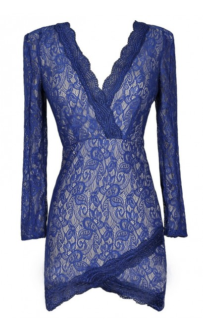 Blue Lace Dress, Longsleeve Lace Dress, Royal Blue Lace Dress, Blue Lace Crossover Hem Dress, Cute Blue Dress, Blue Bodycon Dress, Lace Bodycon Dress
