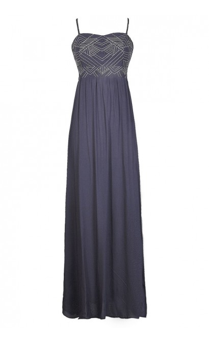 Cute Maxi Dress, Blue Maxi Dress, Blue Grey Dress, Blue Embroidered Dress, Blue Embroidered Maxi Dress, Blue Summer Dress, Cute Blue Dress