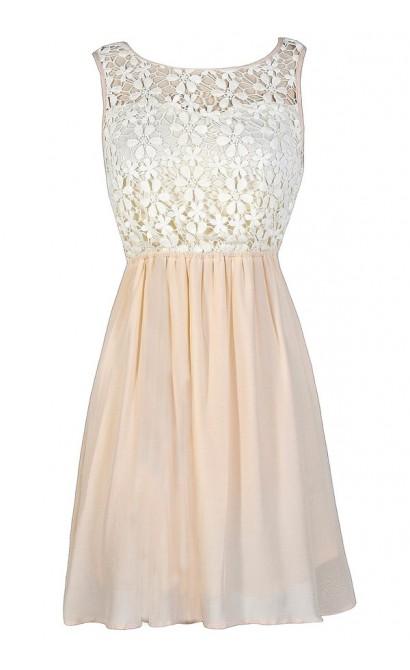 Blush Lace Dress, Pink Lace Dress, Beige Lace Dress, Ivory and Pink Lace Dress, Pink and Ivory Crochet Lace Dress, Cute Summer Dress, Lace Party Dress