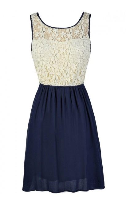 Navy Lace Dress, Cute Navy Dress, Cute Lace Dress, Navy and Ivory Lace Dress, Navy Lace Sundress, Navy Lace Summer Dress, Navy Lace Party Dress