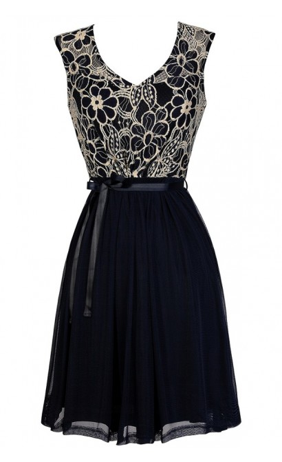 Navy Lace Dress, Navy Lace A-Line Dress, Navy Lace Party Dress, Cute Navy Dress, Navy Lace Bridesmaid Dress