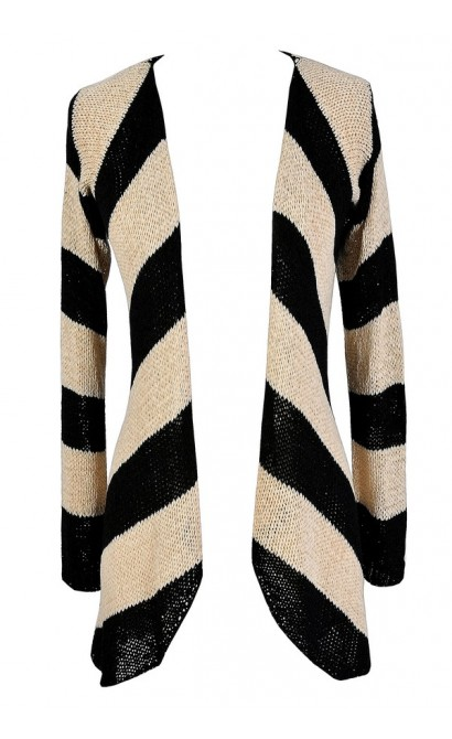 Black and Beige Stripe Cardigan, Cute Black and Beige Top, Cute Fall Cardigan, Cute Striped Cardigan, Black and Beige Stripe Cardigan Sweater, Black and Tan Stripe Cardigan Sweater