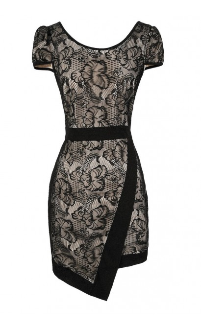 Black and Beige Lace Dress, Black Lace Dress, Black and Nude Lace Dress, Crossover Hemline Dress, Black Lace Crossover Hem Dress, Black Lace Party Dress, Black Lace Cocktail Dress, Black Lace Pencil Dress