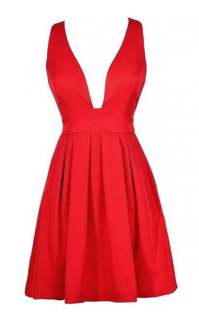 Cute Red Dress, Red Party Dress, Red A-Line Dress, Red Cocktail Dress, Cute Christmas Dress, Cute Holiday Dress, Cute Mistletoe Dress