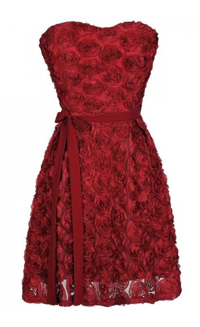 Red Rosette Dress, Cute Rosette Dress, Burgundy Rosette Dress, Burgundy Rosette A-Line Dress, Cute Holiday Dress, Cute Christmas Dress, Red Bridesmaid Dress, Cute Bridesmaid Dress