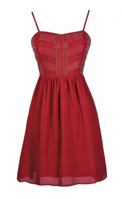 Cute Red Dress, Cute Burgundy Dress, Cute Holiday Dress, Cute Christmas Dress, Cute Christmas Party Dress, Cute Valentine's Day Dress, Red A-Line Dress, Burgundy A-Line Dress, Red Beaded Dress, Red Embellished Dress, Red Party Dress, Burgundy Party Dress