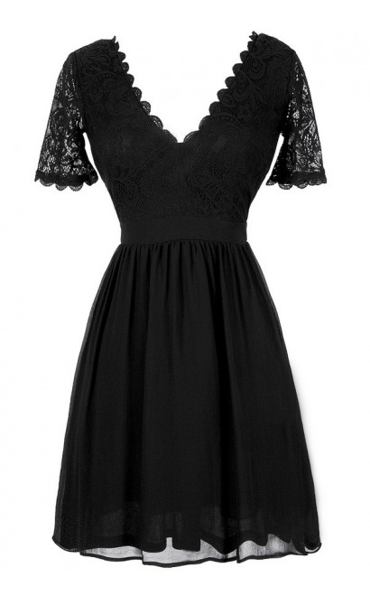 Cute Black Dress, Little Black Dress, Black Lace Dress, Black Lace A-Line Dress, Black Lace Dress With Sleeves, Black Lace Party Dress