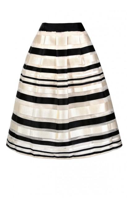 Black and Ivory Stripe Skirt, Cute Stripe Skirt, Black and Ivory Stripe A-line Skirt