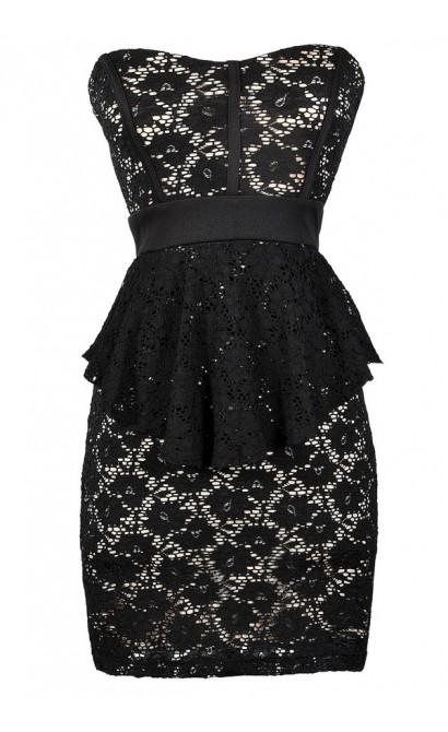 Cute Black Dress, Black Lace Dress, Black Lace Strapless Peplum Pencil Dress, Black Lace Peplum Pencil Dress, Strapless Black Lace Peplum Dress, Black Lace Cocktail Dress, Black Lace Party Dress