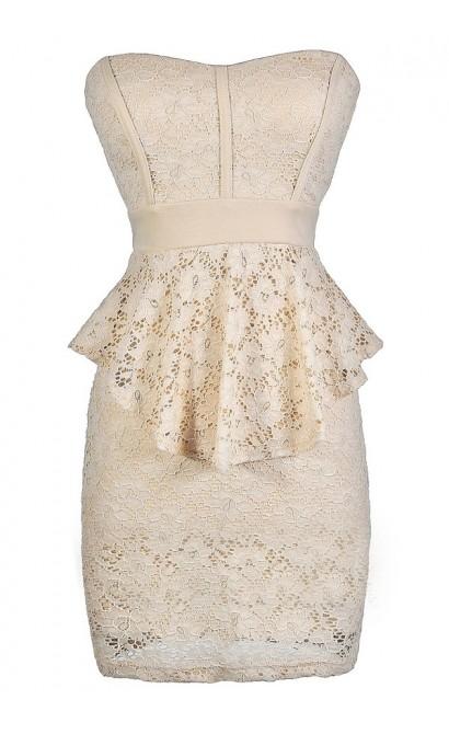 Beige Lace Peplum Dress, Beige Lace Strapless Peplum Pencil Dress, Cute Beige Lace Dress, Beige Lace Party Dress, Beige Lace Cocktail Dress, Strapless Beige Lace Party Dress