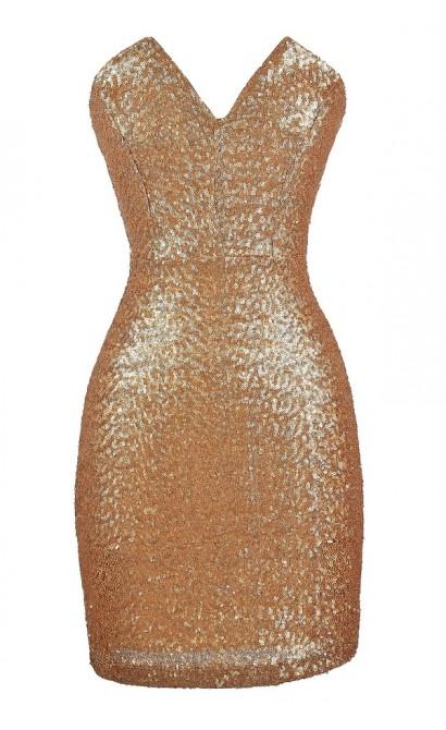 All Aglow Gold Sequin V Dip Dress