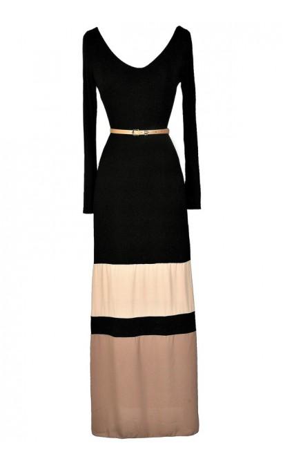 Cute Maxi Dress, Fall Maxi Dress, Winter Maxi Dress, Longsleeve Maxi Dress, Belted Maxi Dress, Black and Beige Maxi Dress, Colorblock Maxi Dress, Cute Long Dress