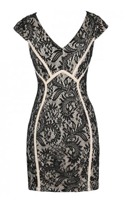 Black Lace Dress, Cute Black and Beige Lace Dress, Black Lace Capsleeve Dress, Black Lace Pencil Dress, Black Lace Cocktail Dress, Black Lace Party Dress