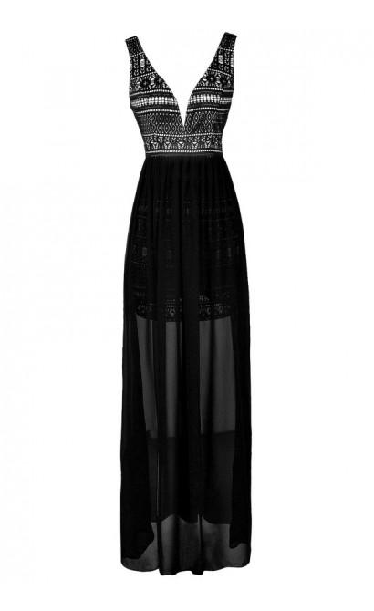Black Lace Maxi Dress, Lasercut Lace Dress, Lasercut Lace Maxi Dress, Black Floor Length Dress, Black Lace and Chiffon Maxi Dress