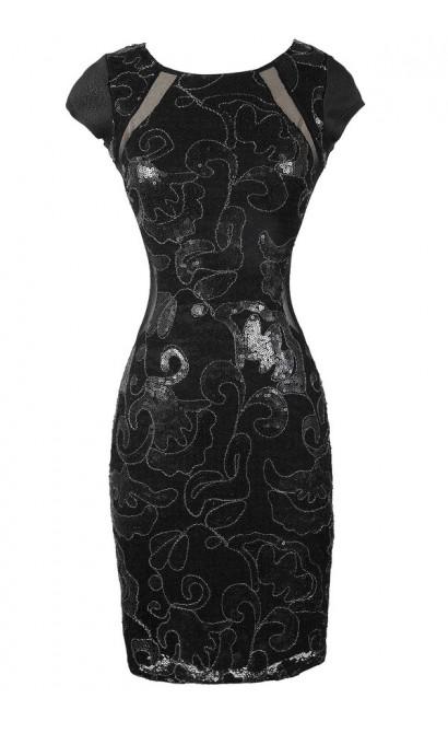 Black Sequin Dress, Little Black Dress, Black Sequin Party Dress, Black Sequin Cocktail Dress, Black Fitted Sequin Dress, Black Embellished Dress