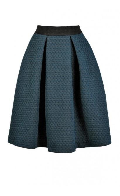 Teal A-Line Skirt, Green A-Line Skirt, Cute Fall Skirt, Cute Winter Skirt, Teal Quilted Skirt