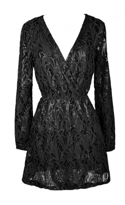 Black Sequin Dress, Black Sequin Wrap Dress, Black Sequin Party Dress, Black Sequin Cocktail Dress, Little Black Dress, Black Sequin Wrap Dress
