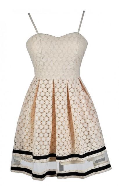 Cute Beige Dress, Beige Lace Dress, Beige Lace A-Line Dress, Beige Lace Party Dress, Beige and Black Lace Dress