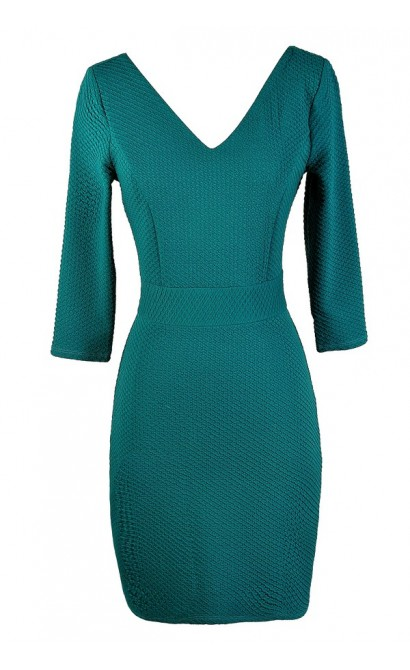 Cute Teal Dress, Teal Bodycon Dress, Fitted Teal Dress, Teal Party Dress, Teal Cocktail Dress, Teal Three Quarter Sleeve Dress, Aqua Fitted Dress, Aqua Party Dress, Aqua Cocktail Dress