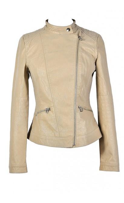 Beige Leatherette Jacket, Beige Faux Leather Jacket, Cute Beige Jacket, Beige Crossover Jacket