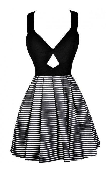 Black and White Stripe Party Dress, Bow Back Party Dress, Black and Ivory Stripe Bow Party Dress, Cute Black and White Party Dress