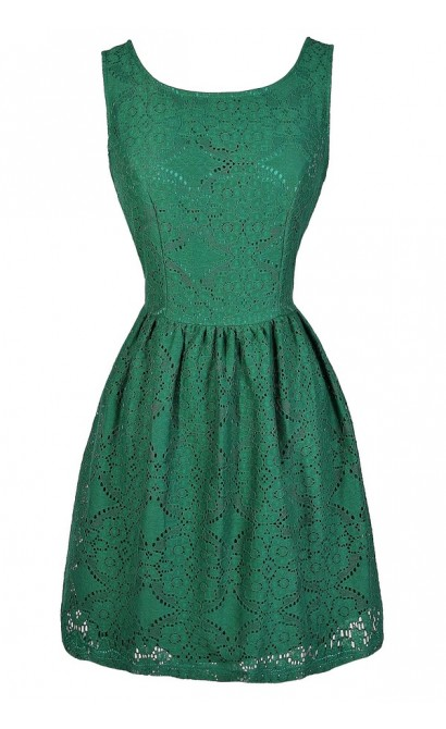 Green Lace Dress, Green Eyelet Lace Dress, Green Lasercut Lace Dress, Hunter Green Lace Dress, Green Lace Bridesmaid Dress, Green Lace Party Dress, Green Lace Summer Dress