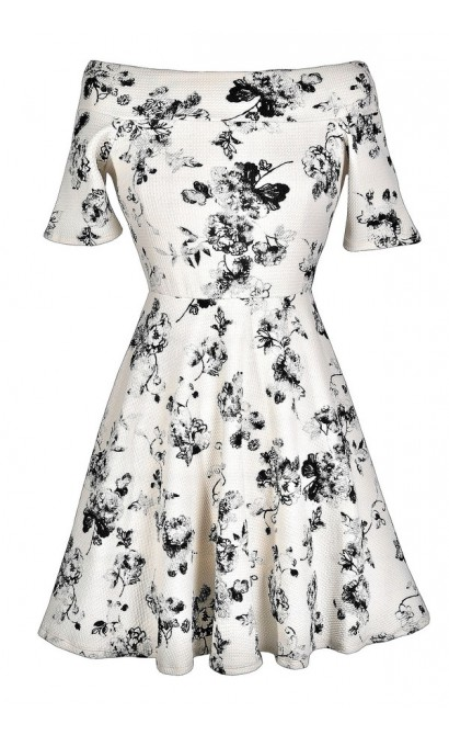 Black and White Floral Print Dress, Black and Ivory Floral Print Dress, Cute Black and Ivory Dress, Cute Floral Print Dress, Floral Print A-Line Dress, Floral Print Party Dress