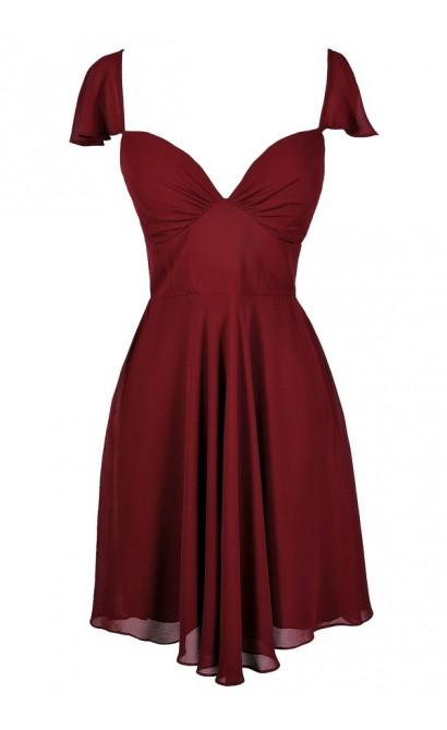 Cute Burgundy Dress, Burgundy Flutter Sleeve Dress, Burgundy Cocktail Dress, Burgundy Party Dress, Burgundy Chiffon Dress, Maroon Party Dress, Maroon Cocktail Dress, Maroon Flutter Sleeve Dress