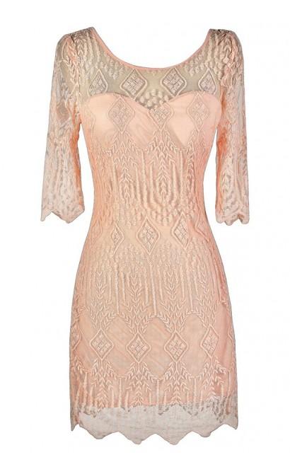 Pink Lace Dress, Cute Pink Dress, Pink Embroidered Dress, Pink Embroidered Sheath Dress, Pink Lace Sheath Dress, Pink Party Dress