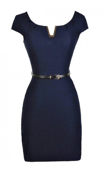 Navy Pencil Dress, Navy Belted Dress, Cute Navy Dress, Navy Work Dress, Cute Work Dress